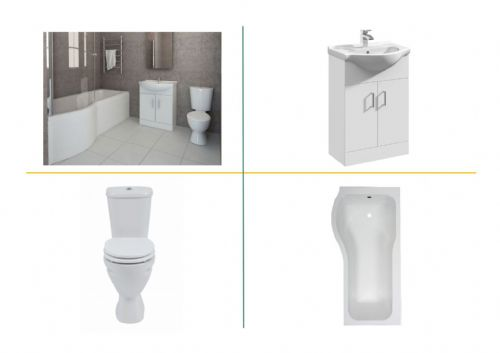 P Shaped Bath Suite Inc Vanity, Close Coupled Toilet & Taps - Various Sizes & Options